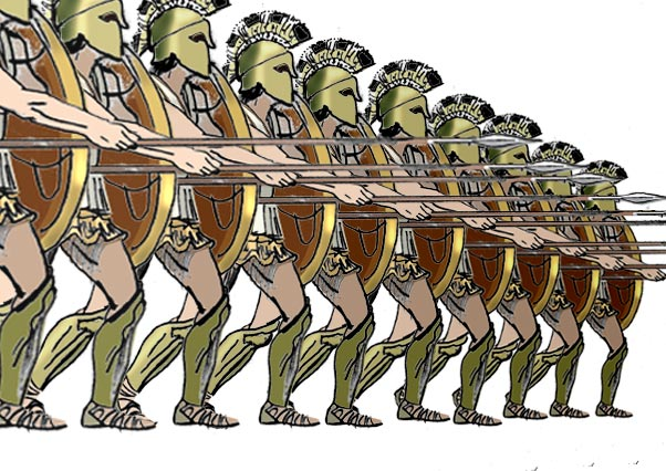 greek hoplites in phalanx formation from wikepedia phalanx
